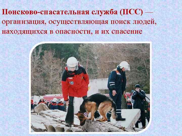 Поисково-спасательная служба (ПСС) — организация, осуществляющая поиск людей, находящихся в опасности, и их спасение