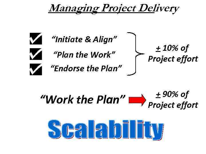 """Managing Project Delivery """"Initiate & Align"""" """"Plan the Work"""" """"Endorse the Plan"""" """"Work the"""