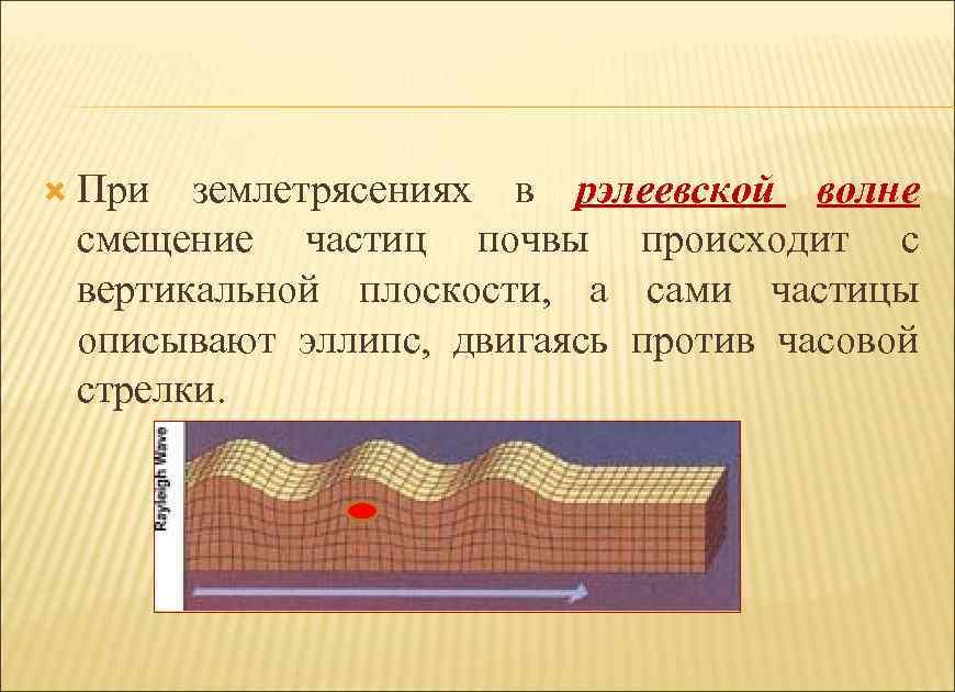 При землетрясениях в рэлеевской волне смещение частиц почвы происходит с вертикальной плоскости, а
