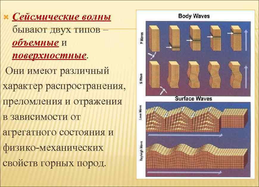 Сейсмические волны бывают двух типов – объемные и поверхностные. Они имеют различный характер распространения,