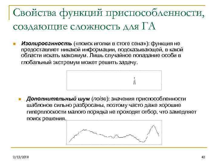Свойства функций приспособленности, создающие сложность для ГА Изолированность ( «поиск иголки в стоге сена»