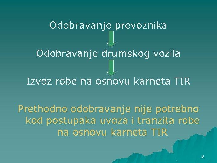 Odobravanje prevoznika Odobravanje drumskog vozila Izvoz robe na osnovu karneta TIR Prethodno odobravanje nije