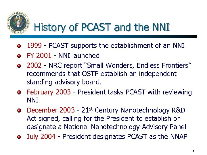 History of PCAST and the NNI 1999 - PCAST supports the establishment of an