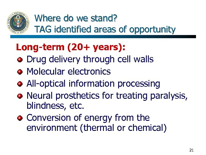 Where do we stand? TAG identified areas of opportunity Long-term (20+ years): Drug delivery