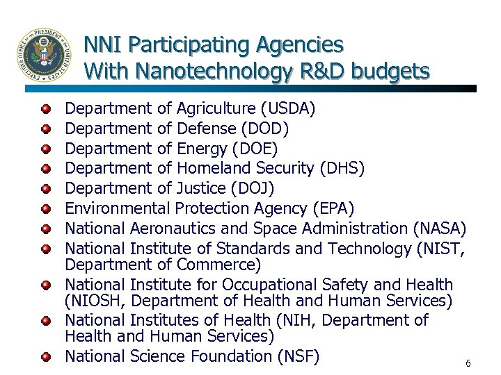 NNI Participating Agencies With Nanotechnology R&D budgets Department of Agriculture (USDA) Department of Defense