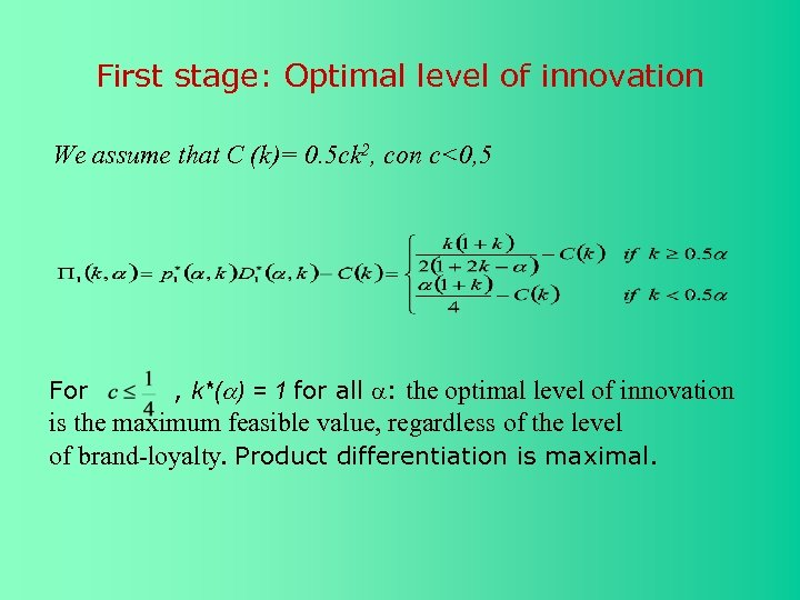 First stage: Optimal level of innovation We assume that C (k)= 0. 5 ck
