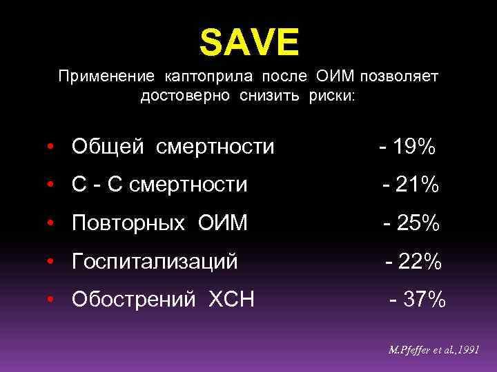SAVE Применение каптоприла после ОИМ позволяет достоверно снизить риски: • Общей смертности - 19%