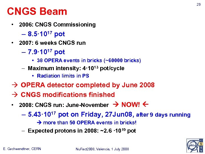 29 CNGS Beam • 2006: CNGS Commissioning – 8. 5· 1017 pot • 2007: