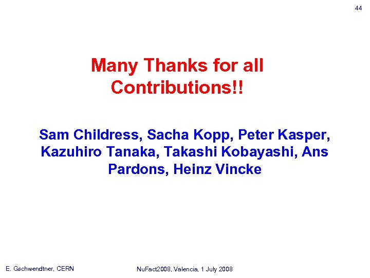 44 Many Thanks for all Contributions!! Sam Childress, Sacha Kopp, Peter Kasper, Kazuhiro Tanaka,