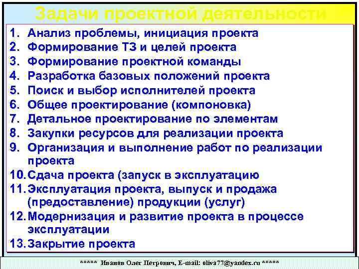 Задачи проектной деятельности 1. 2. 3. 4. 5. 6. 7. 8. 9. Анализ проблемы,