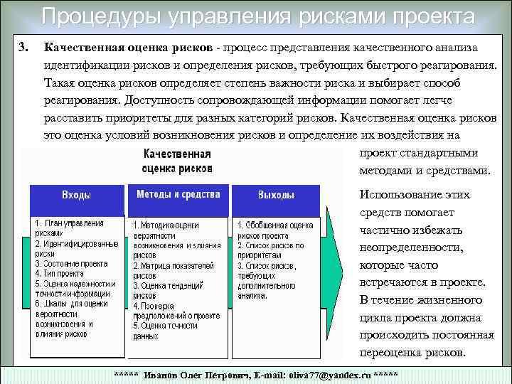 Процедуры управления рисками проекта 3. Качественная оценка рисков - процесс представления качественного анализа идентификации