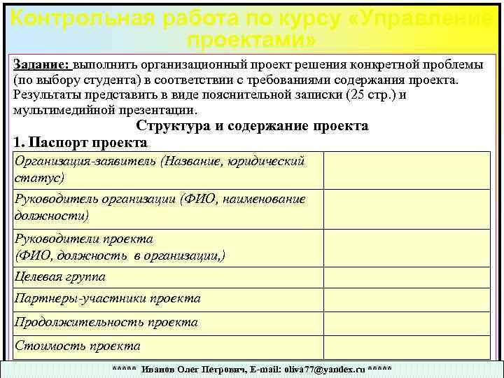Контрольная работа по курсу «Управление проектами» Задание: выполнить организационный проект решения конкретной проблемы (по