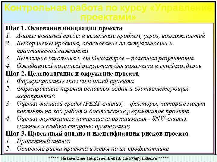 Контрольная работа по курсу «Управление проектами» Шаг 1. Основания инициации проекта 1. Анализ внешней