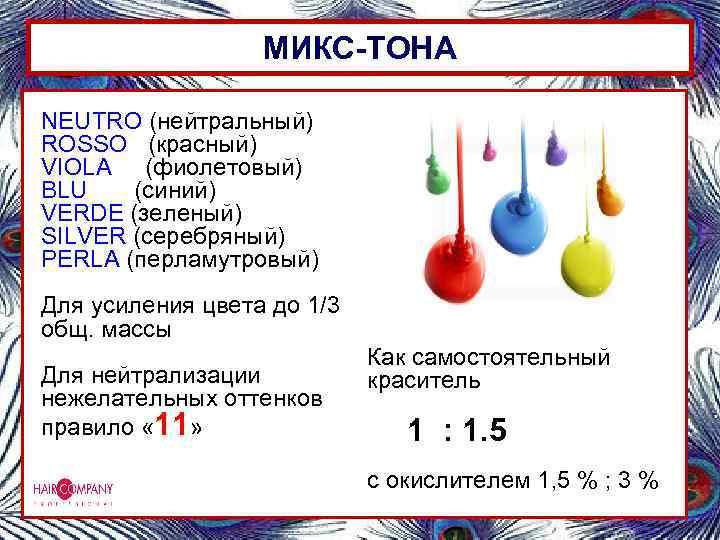 МИКС-ТОНА NEUTRO (нейтральный) ROSSO (красный) VIOLA (фиолетовый) BLU (синий) VERDE (зеленый) SILVER (серебряный) PERLA