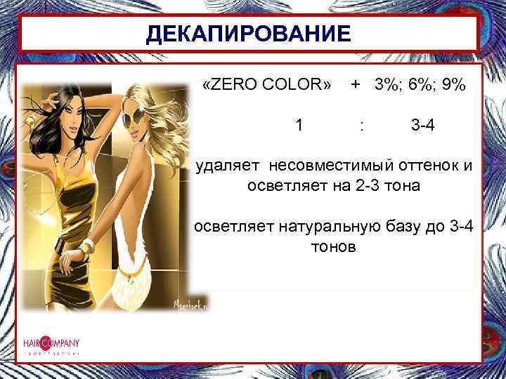 ДЕКАПИРОВАНИЕ «ZERO COLOR» 1 + 3%; 6%; 9% : 3 -4 удаляет несовместимый оттенок