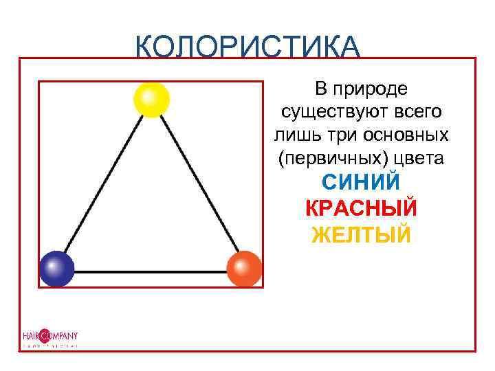 КОЛОРИСТИКА В природе существуют всего лишь три основных (первичных) цвета СИНИЙ КРАСНЫЙ ЖЕЛТЫЙ