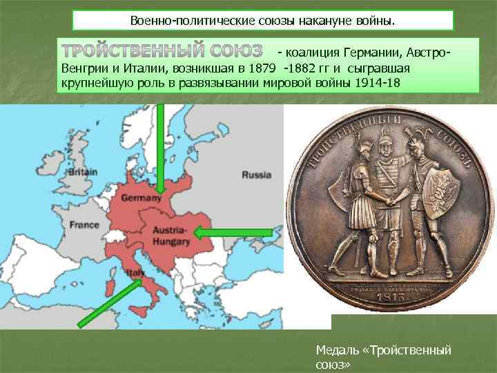 Военно-политические союзы накануне войны. - коалиция Германии, Австро. Венгрии и Италии, возникшая в 1879
