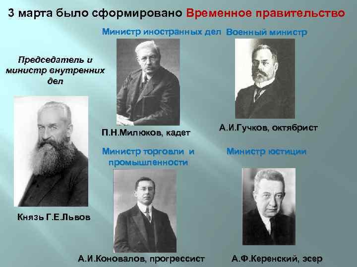 3 марта было сформировано Временное правительство Министр иностранных дел Военный министр Председатель и министр