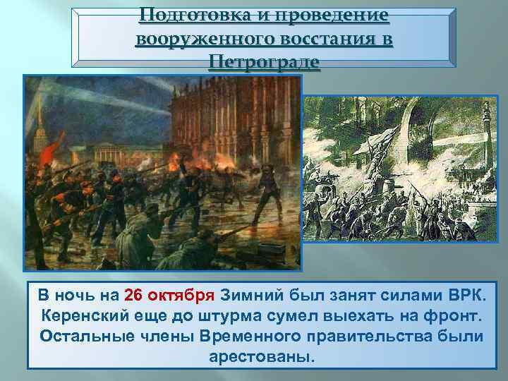 Подготовка и проведение вооруженного восстания в Петрограде В ночь на 26 октября Зимний был