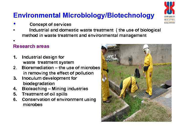 Environmental Microbiology/Biotechnology • Concept of services • Industrial and domestic waste treatment ( the