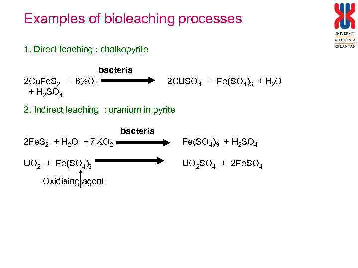 Examples of bioleaching processes 1. Direct leaching : chalkopyrite bacteria 2 Cu. Fe. S