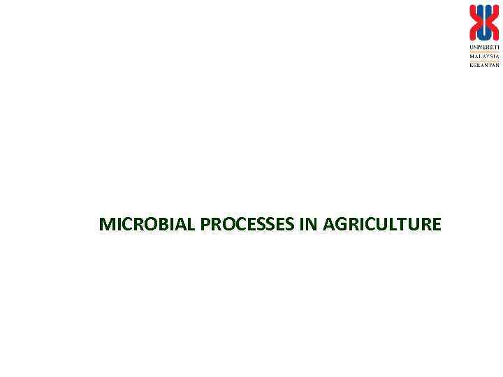MICROBIAL PROCESSES IN AGRICULTURE