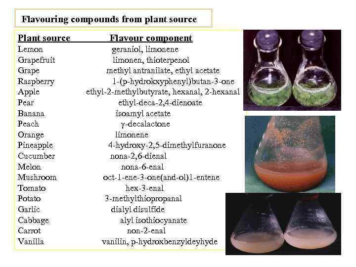 Flavouring compounds from plant source Plant source Lemon Grapefruit Grape Raspberry Apple Pear Banana
