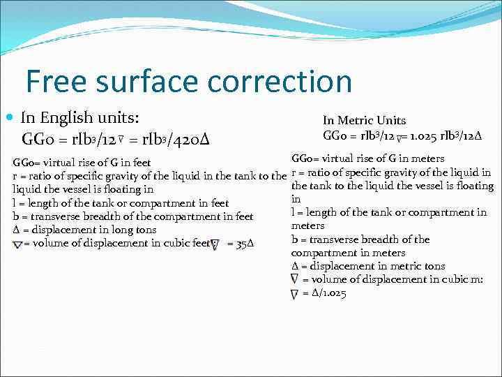 Free surface correction In English units: GG 0 = rlb 3/12 = rlb 3/420∆