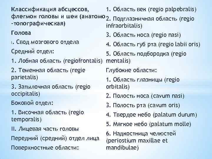 1. Область век (regio palpebralis) Классификация абсцессов, флегмон головы и шеи (анатомо 2. Подглазничная