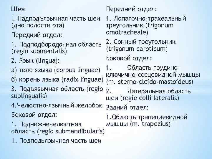 Шея Передний отдел: I. Надподъязычная часть шеи 1. Лопаточно-трахеальный треугольник (trigonum (дно полости рта)