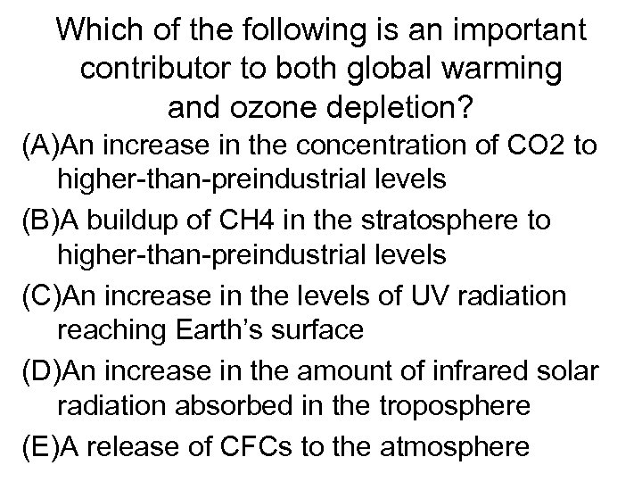 Which of the following is an important contributor to both global warming and ozone
