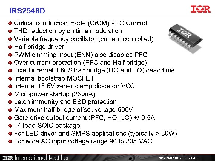 IRS 2548 D Critical conduction mode (Cr. CM) PFC Control THD reduction by on