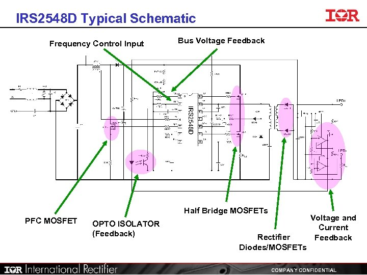 IRS 2548 D Typical Schematic Frequency Control Input Bus Voltage Feedback Half Bridge MOSFETs