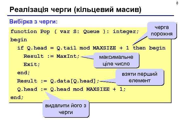 8 Реалізація черги (кільцевий масив) Вибірка з черги: черга порожня function Pop ( var