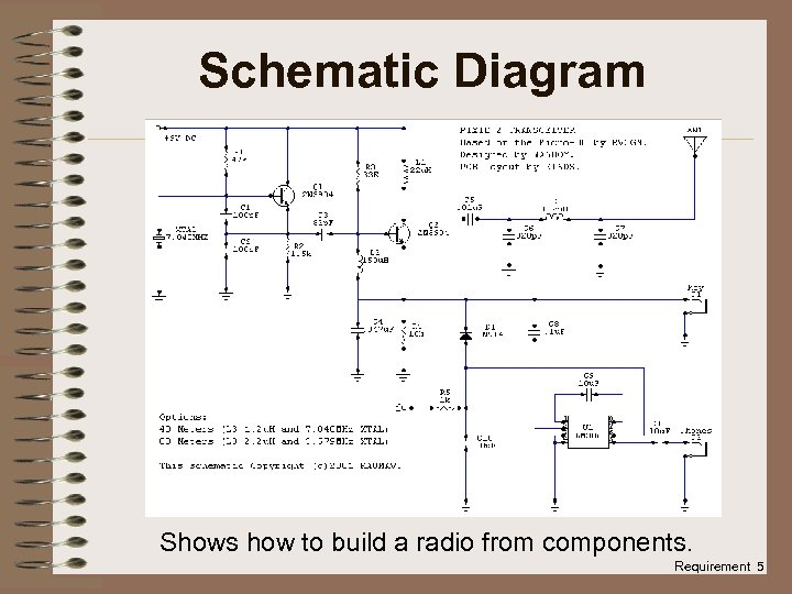 Schematic Diagram Shows how to build a radio from components. Requirement 5