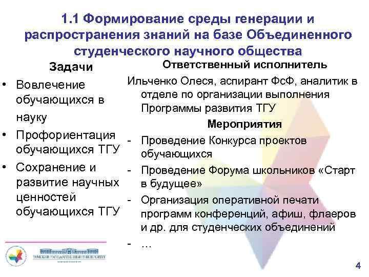 1. 1 Формирование среды генерации и распространения знаний на базе Объединенного студенческого научного общества