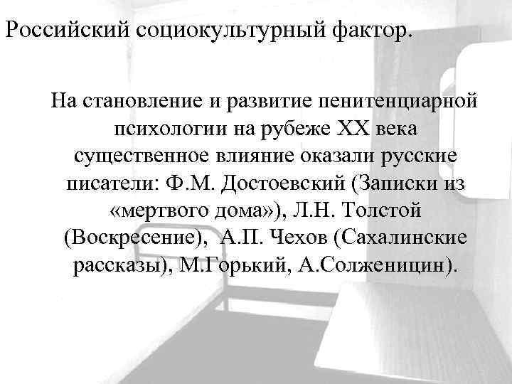 Российский социокультурный фактор. На становление и развитие пенитенциарной психологии на рубеже ХХ века существенное