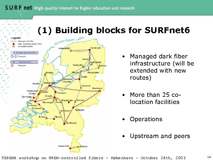 (1) Building blocks for SURFnet 6 • Managed dark fiber infrastructure (will be extended