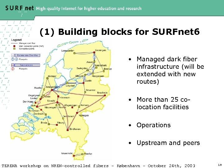 (1) Building blocks for SURFnet 6 • Managed dark fiber infrastructure (will be extended