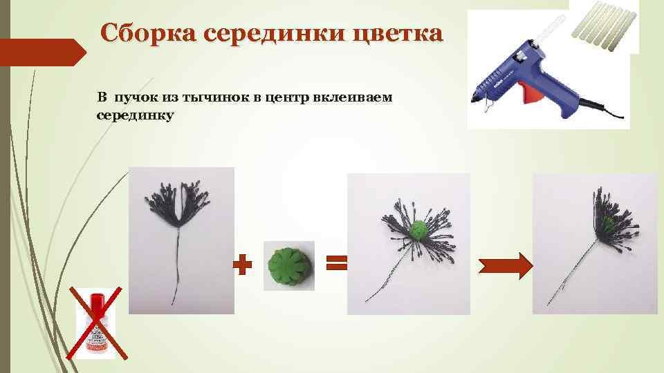 Сборка серединки цветка В пучок из тычинок в центр вклеиваем серединку