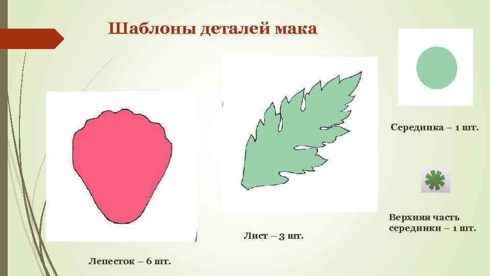 Шаблоны деталей мака Серединка – 1 шт. Лист – 3 шт. Лепесток – 6