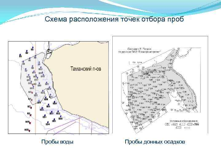 Схема расположения точек отбора проб Пробы воды Пробы донных осадков