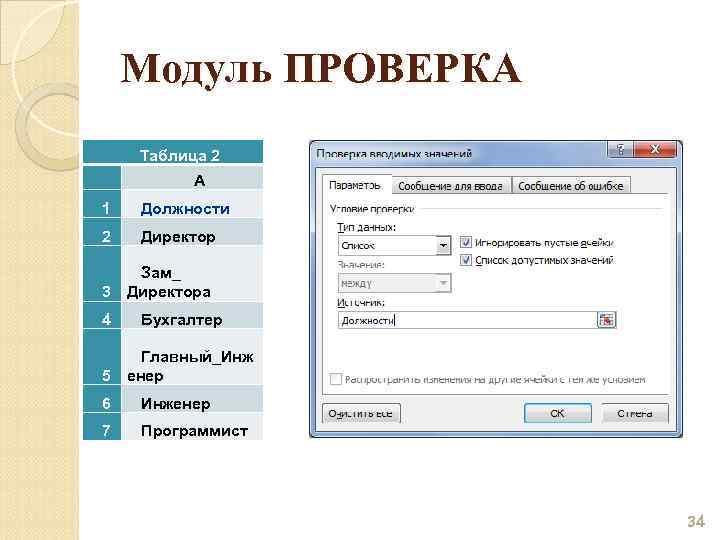Модуль ПРОВЕРКА Таблица 2 A 1 Должности 2 Директор 3 4 5 Зам_ Директора