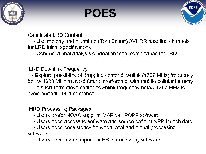 POES Candidate LRD Content - Use the day and nighttime (Tom Schott) AVHRR baseline
