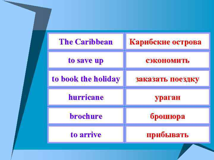 The Caribbean Карибские острова to save up сэкономить to book the holiday заказать поездку