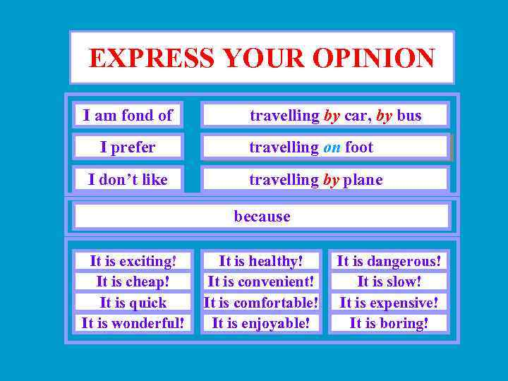 EXPRESS YOUR OPINION I am fond of travelling by car, by bus I prefer