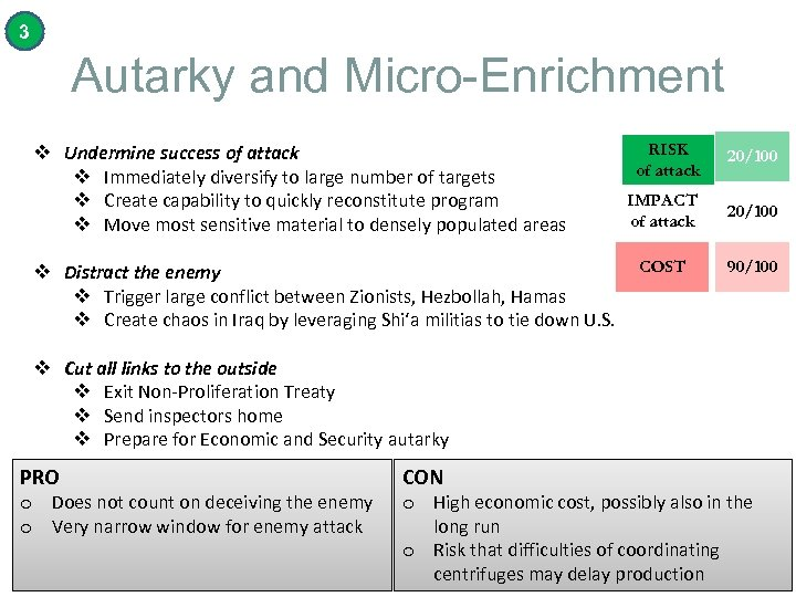 3 Autarky and Micro-Enrichment v Undermine success of attack v Immediately diversify to large