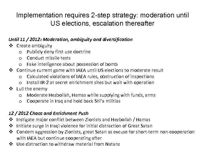 Implementation requires 2 -step strategy: moderation until US elections, escalation thereafter Until 11 /