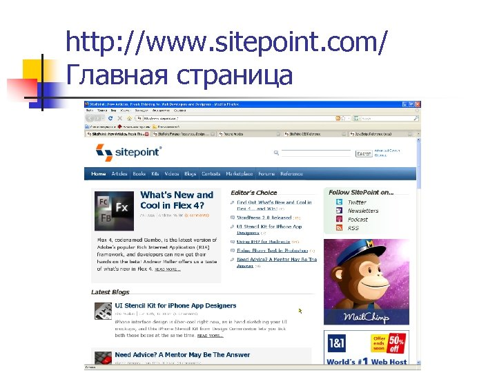 http: //www. sitepoint. com/ Главная страница