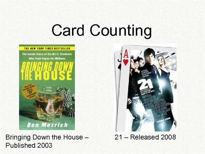 Card Counting Bringing Down the House – Published 2003 21 – Released 2008